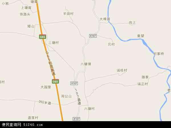 六塘镇2016年卫星地图 中国广西壮族自治区桂林市临桂区六塘镇地图