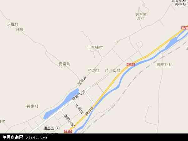 中国陕西省延安市宝塔区桥沟镇地图(卫星地图)