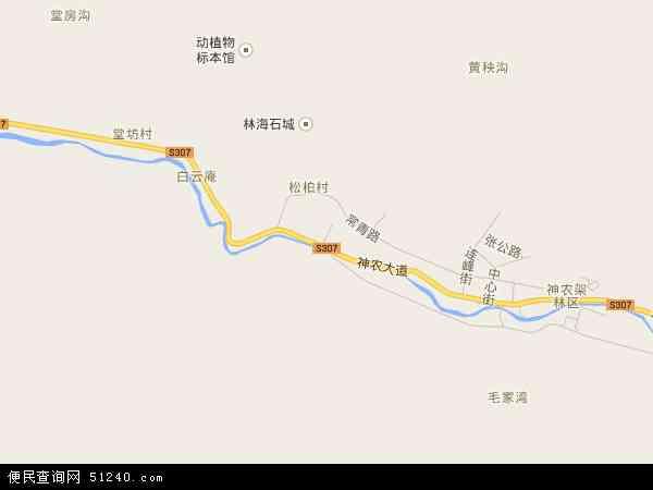 中国湖北省省直辖县级行政区划神农架林区松柏镇地图(卫星地图)
