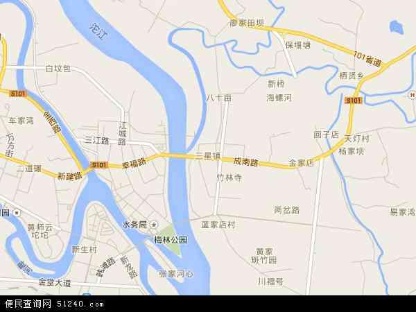 中国 四川省 成都市 金堂县 三星镇  三星镇卫星地图 本站收录有:2016