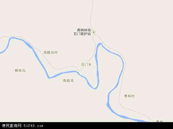 中国陕西省延安市甘泉县石门乡地图(卫星地图)