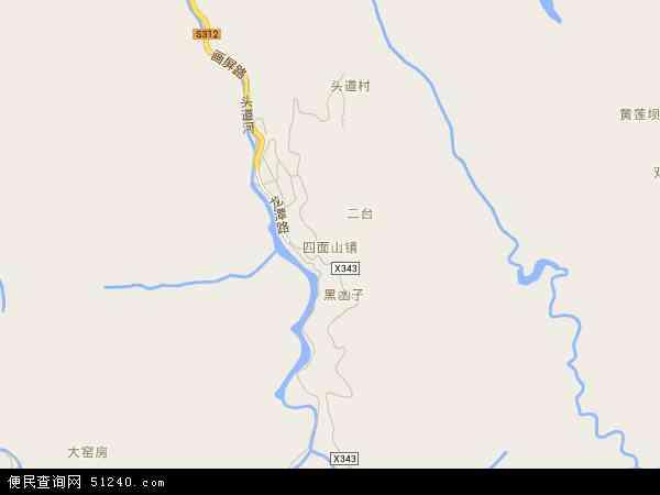 中国重庆市江津区四面山镇地图(卫星地图)