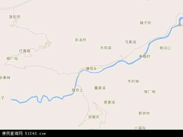 中国四川省宜宾市筠连县塘坝乡地图(卫星地图)