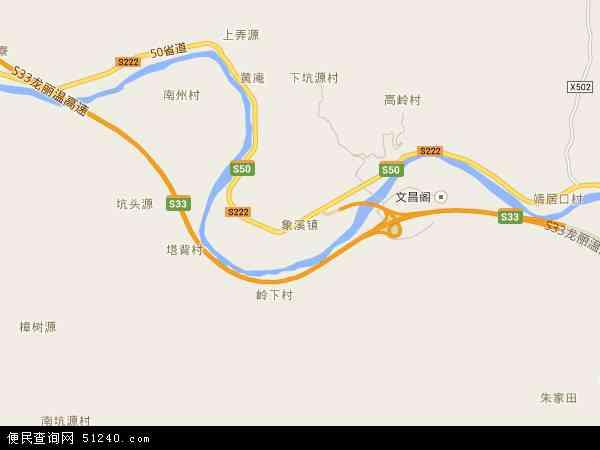 中国浙江省丽水市松阳县象溪镇地图(卫星地图)