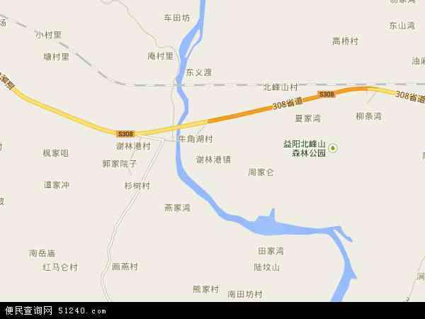 谢林港镇高清卫星地图 谢林港镇2017年卫星地图 中国湖南省益阳市