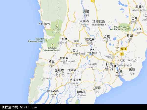 缅甸伊洛瓦底省地图(卫星地图)