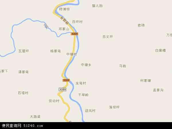 中国重庆市黔江区中塘乡地图(卫星地图)