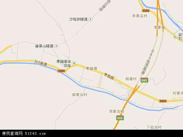 中国陕西省延安市宝塔区枣园镇地图(卫星地图)