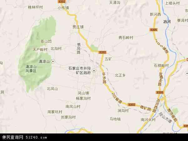 中国河北省石家庄市井陉矿区地图(卫星地图)