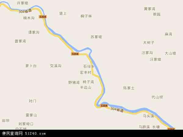 中国贵州省遵义市凤冈县石径乡地图(卫星地图)