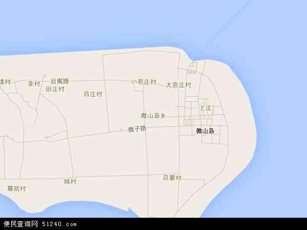 中国山东省济宁市微山县微山岛乡地图(卫星地图)