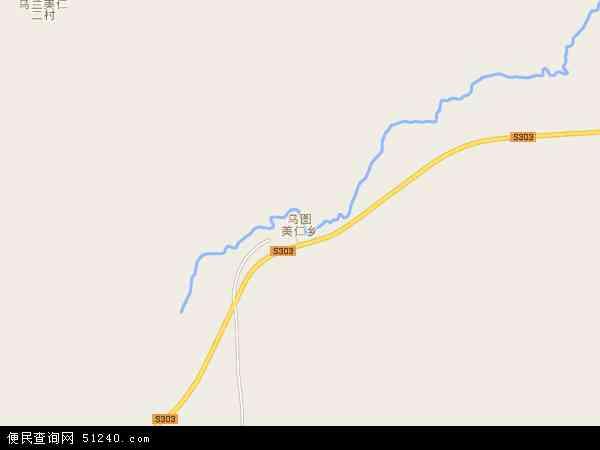 中国青海省海西蒙古族藏族自治州格尔木市乌图美仁乡地图(卫星地图)