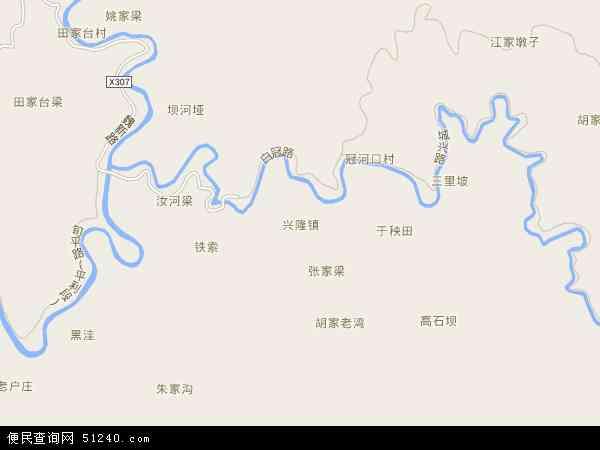 中国陕西省安康市平利县兴隆镇地图(卫星地图)