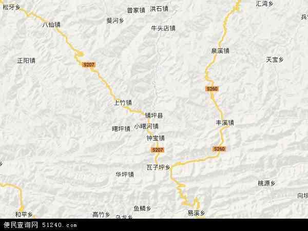 镇坪县高清卫星地图 镇坪县2017年卫星地图 中国陕西省安康市镇坪