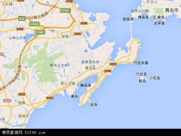 中国山东省青岛市黄岛区张家楼镇地图(卫星地图)
