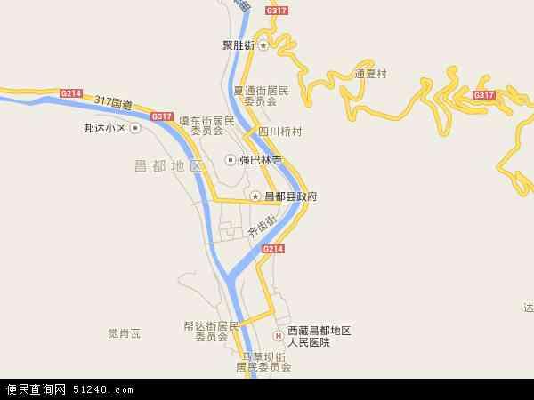 中国西藏自治区昌都地区昌都县城关镇地图(卫星地图)图片