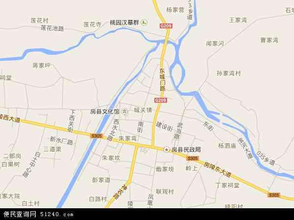 中国湖北省十堰市房县城关镇地图(卫星地图)图片