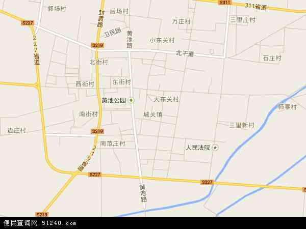 中国河南省新乡市封丘县城关镇地图(卫星地图)