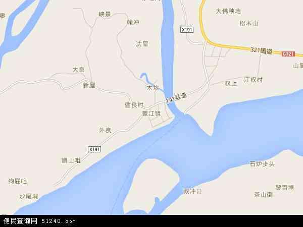 中国广西壮族自治区梧州市藤县蒙江镇地图(卫星地图)