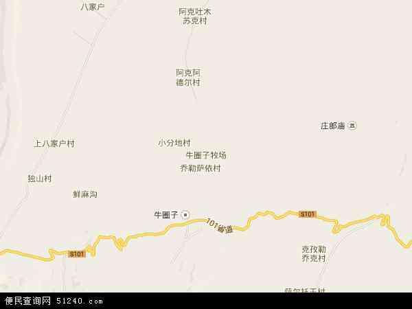 中国新疆维吾尔自治区塔城地区沙湾县牛圈子牧场地图