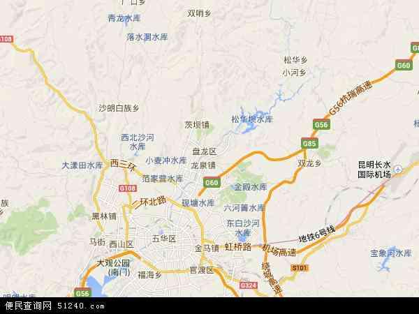 中国云南省昆明市盘龙区盘龙区阿子营地图(卫星地图)