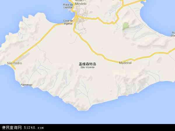 佛得角圣维森特岛地图(卫星地图)
