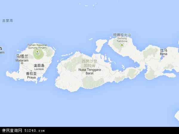 印度尼西亚西努沙登加拉地图(卫星地图)
