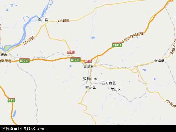 中国黑龙江省双鸭山市集贤县果树示范场地图(卫星地图)图片