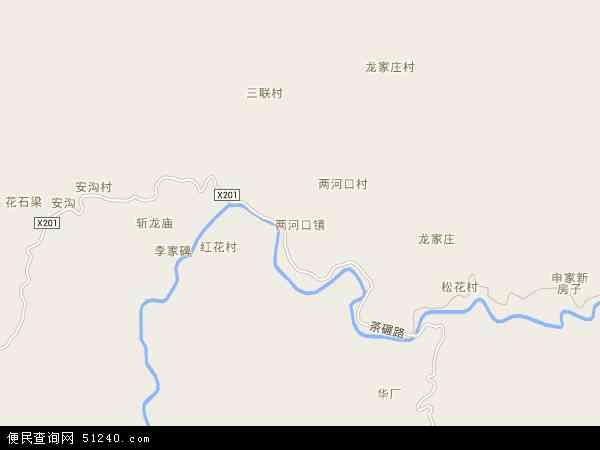 中国陕西省汉中市西乡县两河口镇地图(卫星地图)