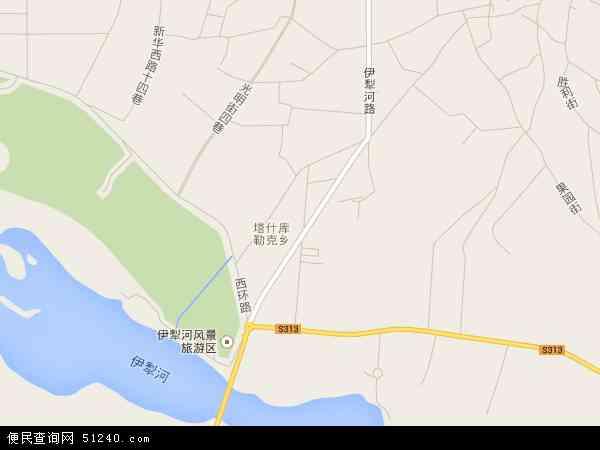 中国新疆维吾尔自治区伊犁哈萨克自治州伊宁市塔什科瑞克乡地图(卫星