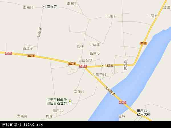 中国辽宁省盘锦市大洼县田庄台镇地图(卫星地图)