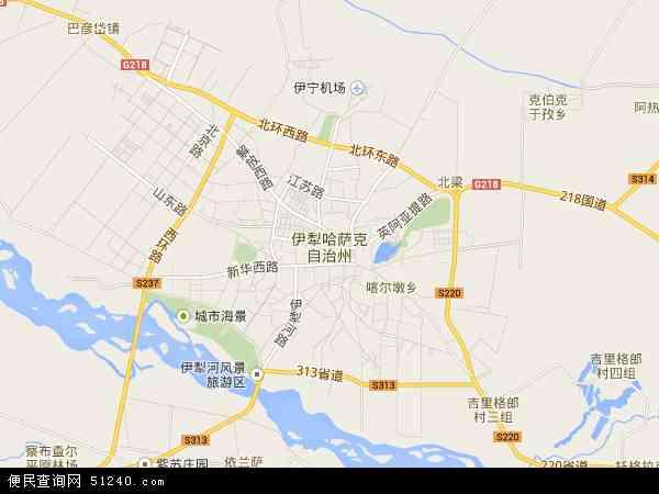 中国新疆维吾尔自治区伊犁哈萨克自治州地图(卫星地图)