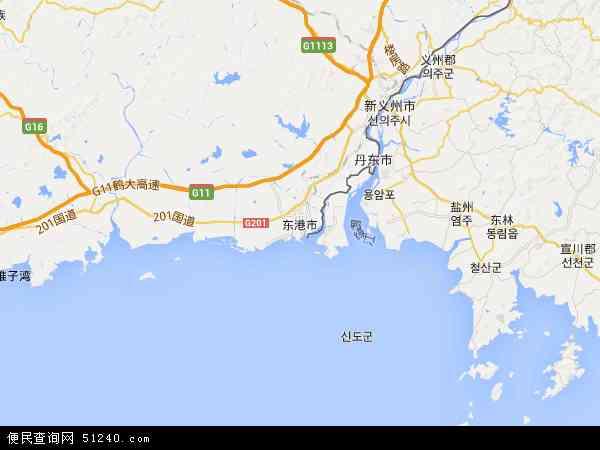 中国辽宁省丹东市东港市海洋红农场地图(卫星地图)