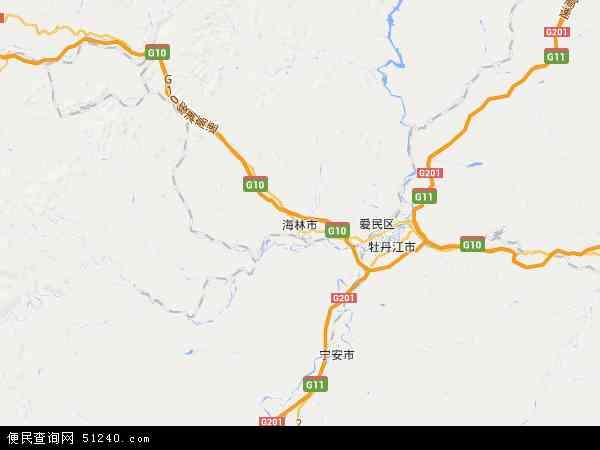 中国黑龙江省牡丹江市海林市牡林工程公司地图(卫星