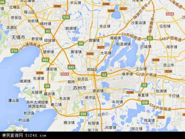 中国江苏省苏州市相城区苏州高铁新城地图(卫星地图)