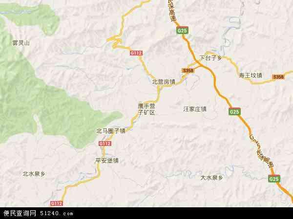 中国河北省承德市鹰手营子矿区地图(卫星地图)
