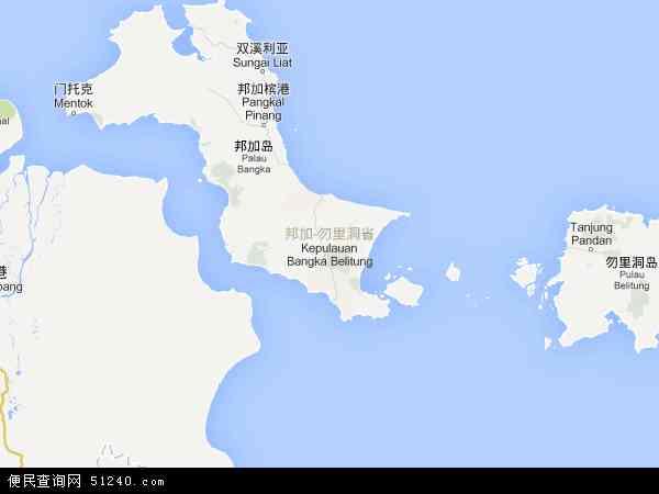 印度尼西亚邦加-勿里洞群岛地图(卫星地图)
