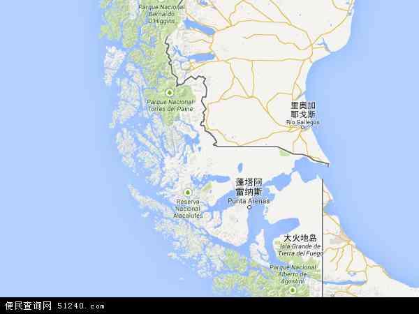 麦哲伦-智利南极大区地图