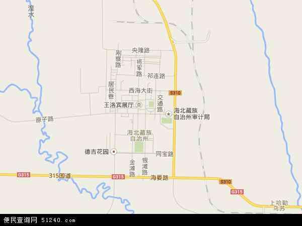 中国青海省海北藏族自治州海晏县西海镇(海北州政府驻地)地图(卫星