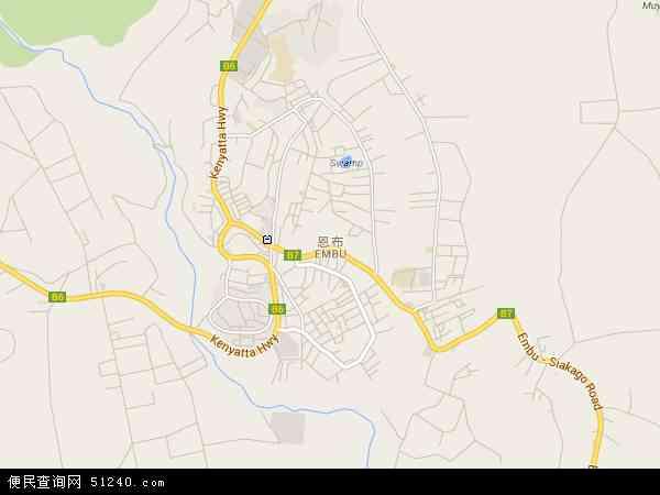 肯尼亚恩布地图(卫星地图)
