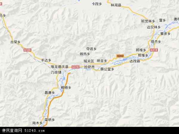 中国西藏自治区拉萨市地图(卫星地图)