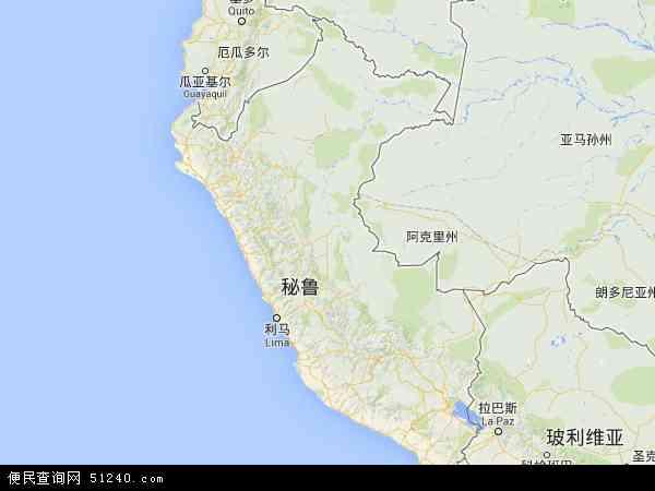 秘鲁地图 - 秘鲁电子地图 - 秘鲁高清地图 - 2019年秘鲁地图图片
