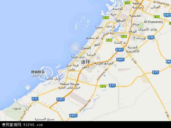 迪拜地图 - 迪拜卫星地图