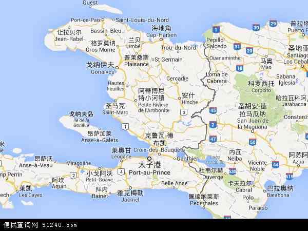 海地地图 - 海地电子地图 - 海地高清地图 - 2017年海地地图