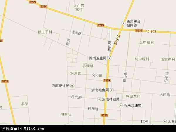 中国山东省临沂市沂南县界湖地图(卫星地图)