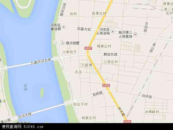 中国山东省临沂市河东区九曲地图(卫星地图)
