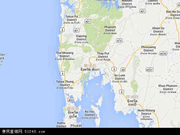 泰国攀牙地图(卫星地图)