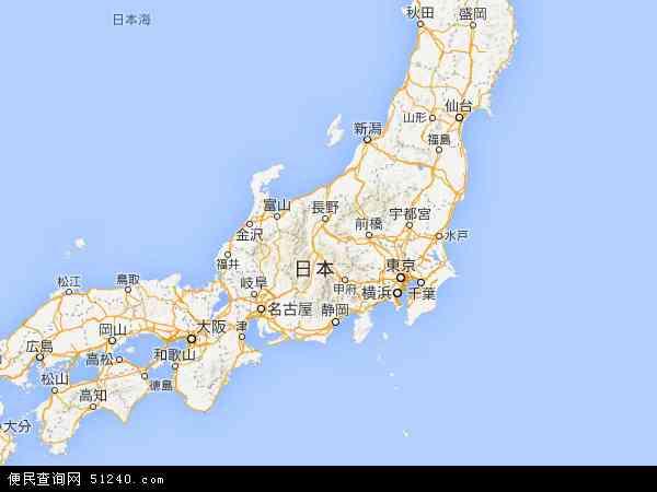 日本地图 - 日本卫星地图