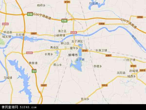 蚌埠市地图 - 蚌埠市卫星地图