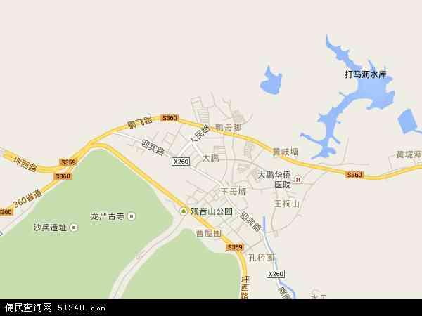 中国广东省深圳市龙岗区大鹏地图(卫星地图)
